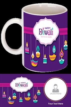 Diya & Candle White Coffee Mug