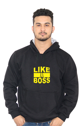 Like A Boss Full Sleeves Black Hoodie