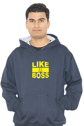 Like a Boss Full Sleeves Navy Blue Hoodie