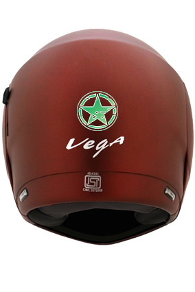 Green Star in Circle Vega Boolean Dull Burgundy Helmet