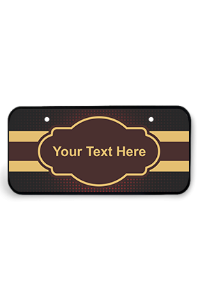 Gold and Maroon Strips Wooden Nameplate