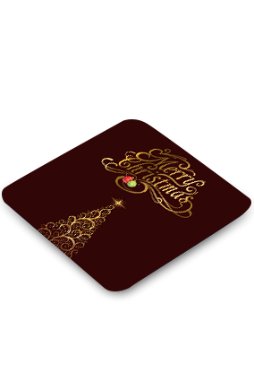 Abstract Merry Christmas Square Coaster