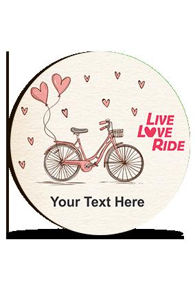 Live Love Ride Customized Valentine Round Photo Magnet