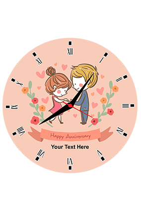 Cute Couple Customized Round Wall Clock