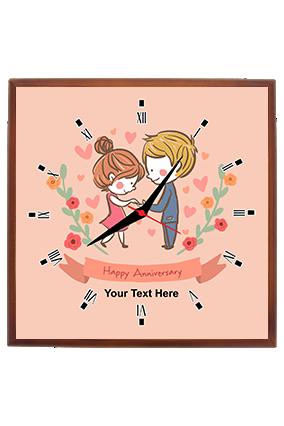 Cute Couple Customized Rectangular Wall Clock