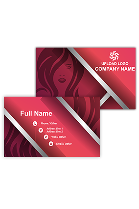Red and Silver Customized Saloon Visiting Card