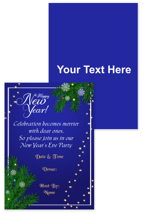 Amazing Blue Designer New Year Invitation Card