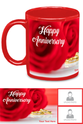 Beautiful Red Rose Customized Anniversary Red Patch Mug
