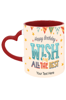 Beautiful Decorative Designer Birthday Heart Handle Inside Maroon Redish Mug