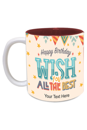 Beautiful Decorative Designer Birthday Inside Maroon Mug