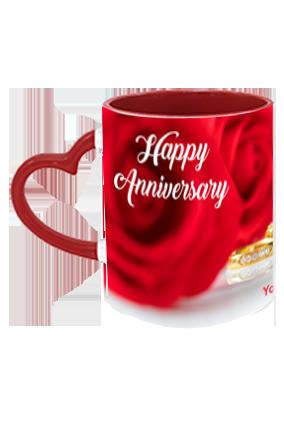 Beautiful Red Rose Customized Anniversary Heart Handle Inside Maroon Redish Mug