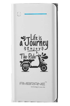 Life is Journey Customized 20800mAh Ambrane Power Bank White