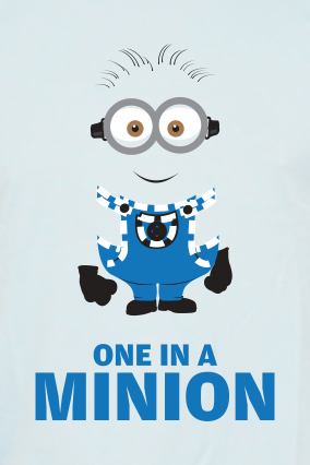 One in a Minion  Round Neck Sky Blue Dri Fit T-shirt