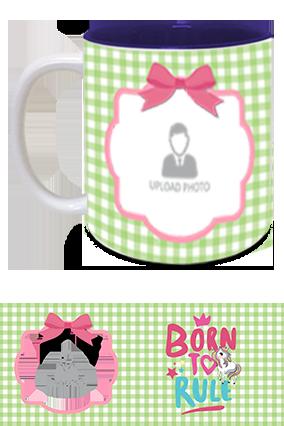Born to Rule Personalized Kids Designer Inside Blue Mug