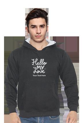 Hello My Love Customised Full Sleeves Black Hoodie