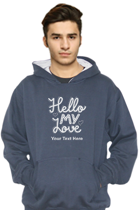 Hello My Love Customized Hoodie (Navy Blue)