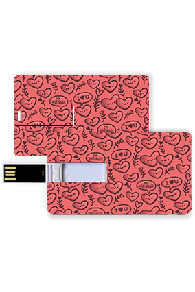 Cute Love Hearts Valentine Credit Card Pen Drive