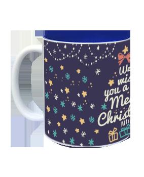 Customized Wishing Xmas Merry Christmas Inside Blue Mug