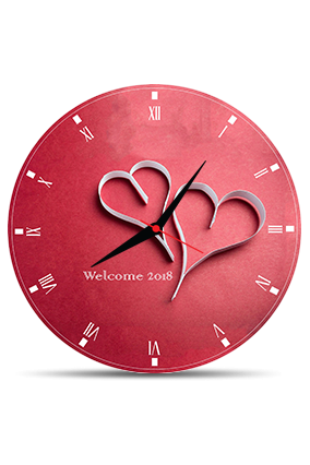 Adorable Heart Round MDF Clock