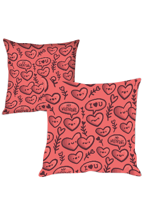 Cute Love Hearts Printed Cushion Cover