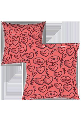 Cute Love Hearts Printed Cushion Cover