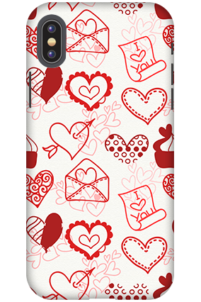 Personalized 3D-Apple iPhone X Love Letters and Hearts Mobile Cover