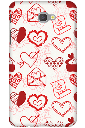 3D -Samsung Galaxy J7 Prime Love Letters and Hearts Mobile Cover