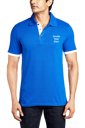 Designer Create Your Own Royal Blue Cotton Polo T-Shirt - 57115901