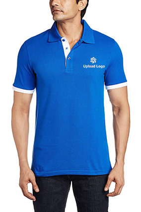 Amazing Upload Logo Royal Blue Cotton Polo T-Shirt - 57115901