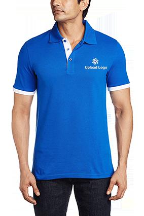 Amazing Upload Logo Royal Blue Cotton Polo T-Shirt - 57115901