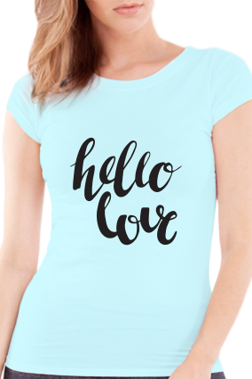 Be with Me Valentine Day Girls Sky Blue T-Shirt