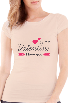 Be My Partner Valentine Day Girls  Light Peach T-Shirt