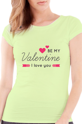 Be My Partner Valentine Day Girls Light Green T-Shirt