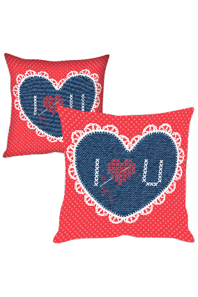 Designer Love Heart Cushion Cover