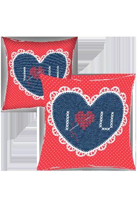 Designer Love Heart Cushion Cover
