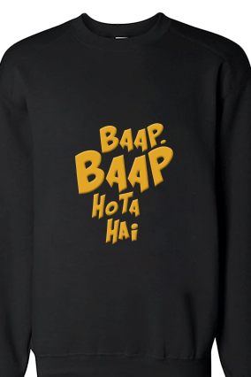 Baap Baap Yellow Print Black Men Sweatshirt