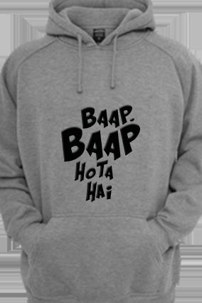 Baap Baap Black Print Gray Hoodie