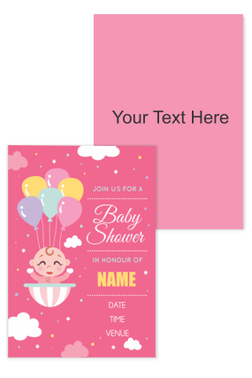 Baby with Ballons Baby Shower Invitation Card