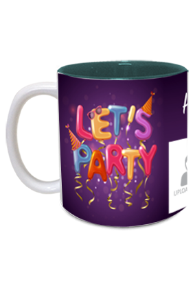 Lets Party Personalized Birthday Inside Green Mug