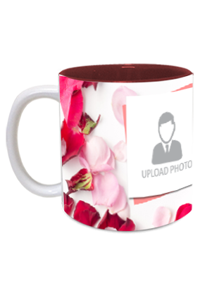 Rose Leaves Personalized Anniversary Inside Maroon Mug