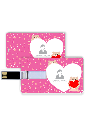 Photo Printed Pink Personalized Credit Card Pen Drive