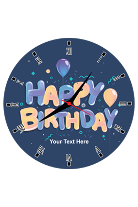 Balloons in Blue Round Wall Clock For Birthday