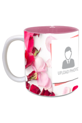 Rose Leaves Personalized Anniversary Inside Pink Mug