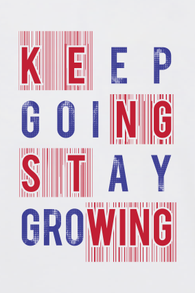 Keep Going Stay Growing  Round Neck Dri-fit White T-shirt