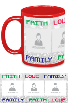 Faith Love Family Photo Printed Personalized Trendy Red Patch Mug