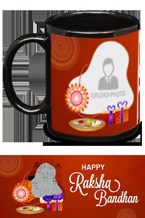Designer Red Personalized Raksha Bandhan Black Patch Mug