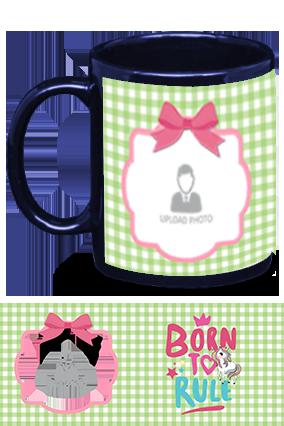Born to Rule Personalized Kids Designer Blue Patch Mug