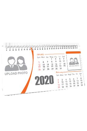 Unique Whitish Orange Desk Photo Calendar(11 x 6 Inches) - 6 Leaves