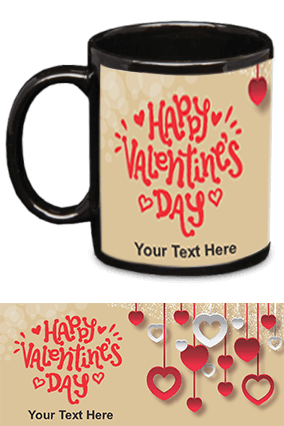 Beautiful Happy Valentine's Day Black Patch Mug