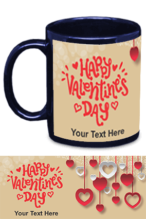 Beautiful Happy Valentine's Day Blue Patch Mug